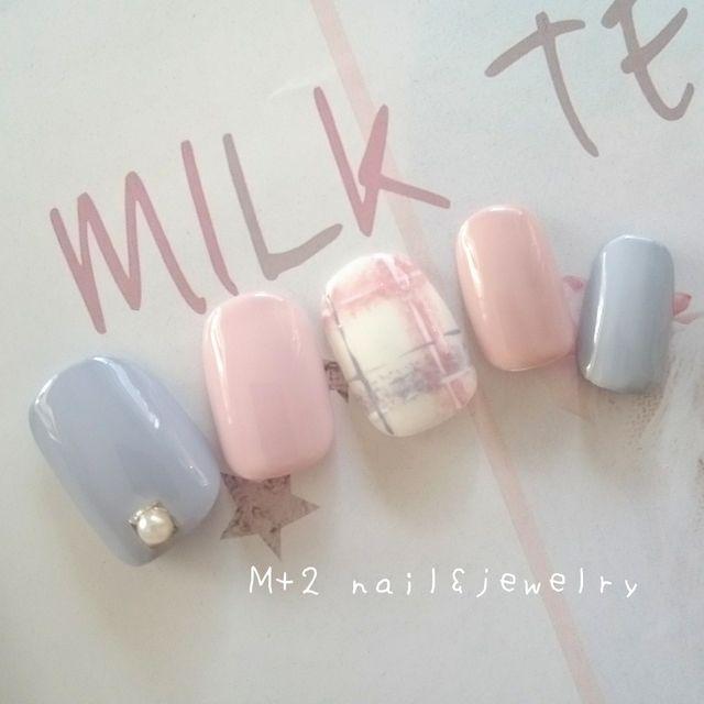 再37♡やわらかふんわりチェック♡肌なじみgray&pink♡ネイルチップ