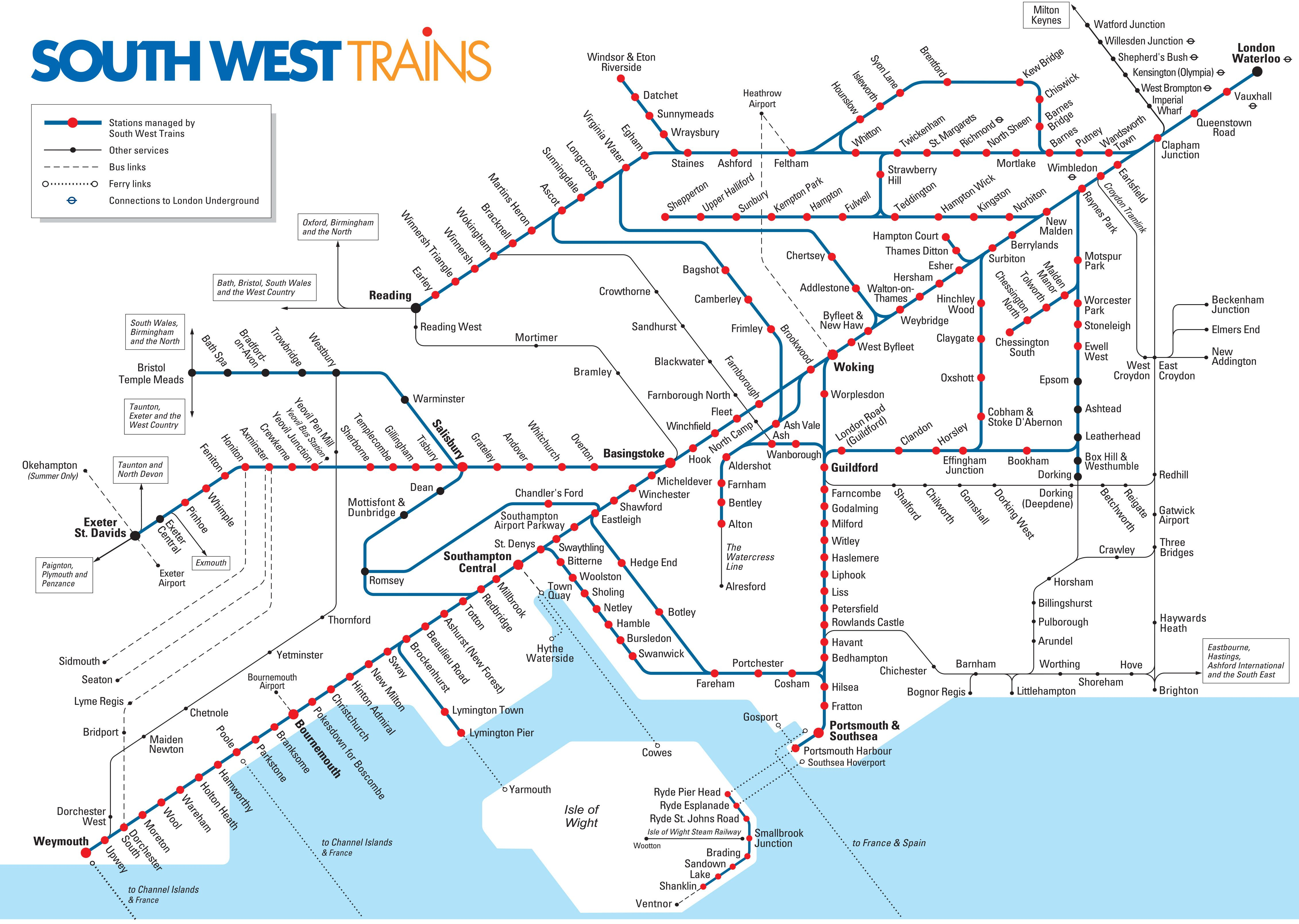 Map Of London South West Trains Rail Network Travel Pinterest - London map train