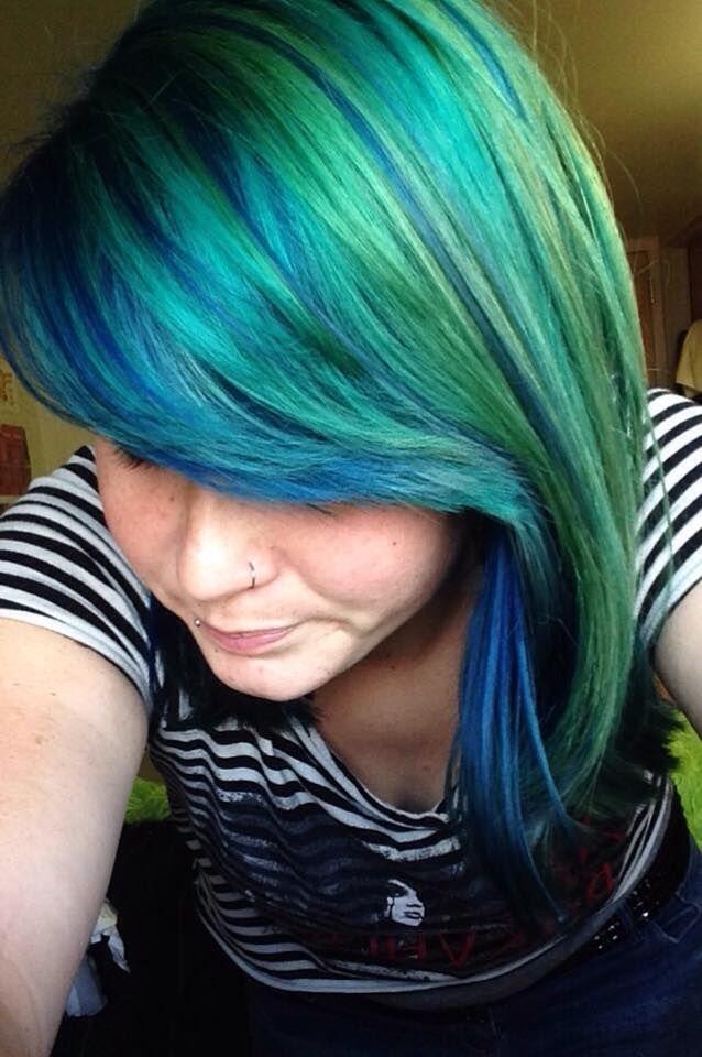 Blue Green Teal Yellow And Dark Blue Mix Girls Hair Hair Color Kids Hair Color Hair