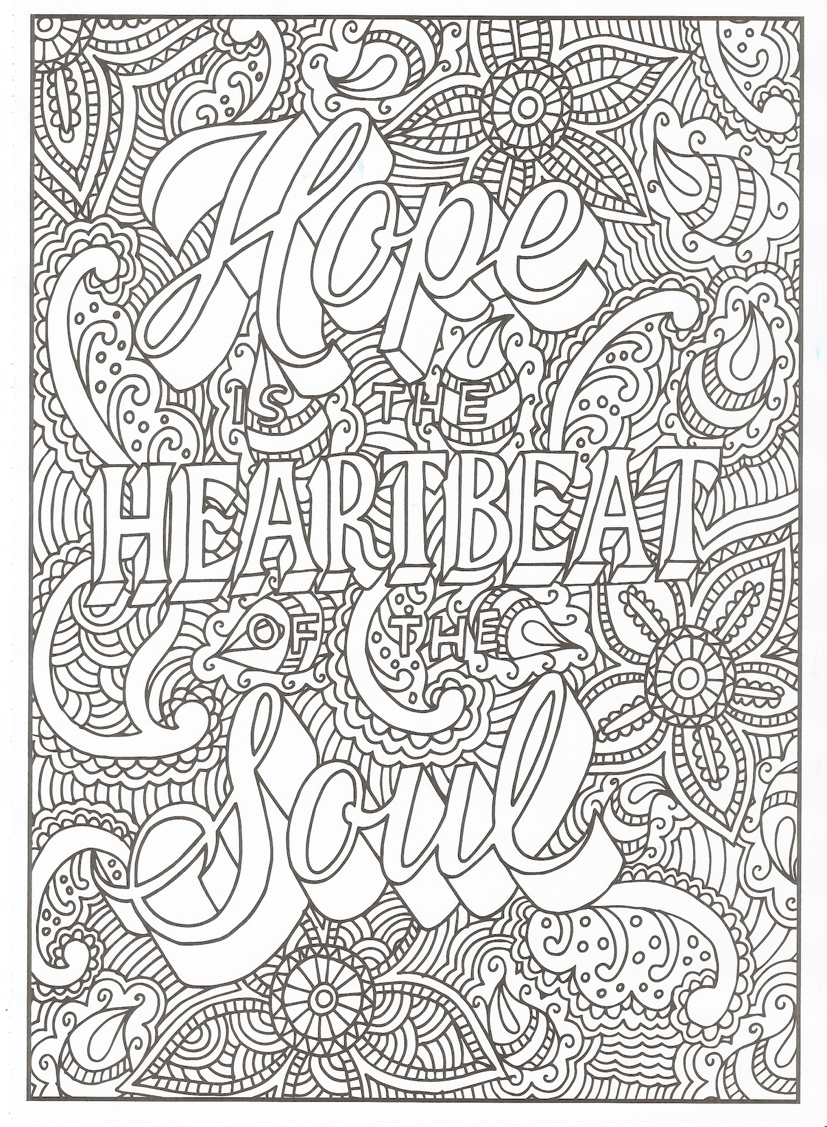 Timeless Creations Creative Quotes Coloring Page Hope Is The