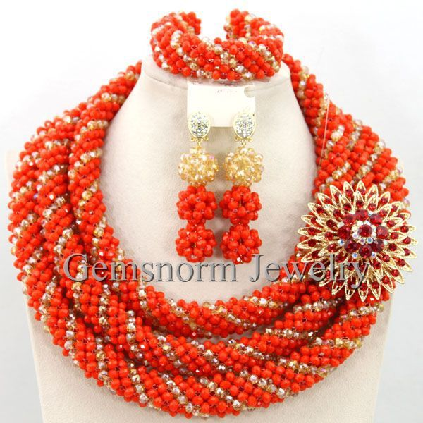 3954556bbb Exclusive Coral Nigerian Wedding African Jewelry Sets 18K Gold Dubai ...