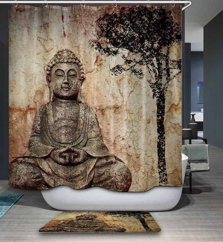 Beautiful Buddhism Artwork Chinese Buddha Shower Curtain Bathroom