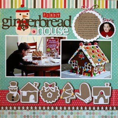 Gingerbread House - love the white borders with the kraft as the background.