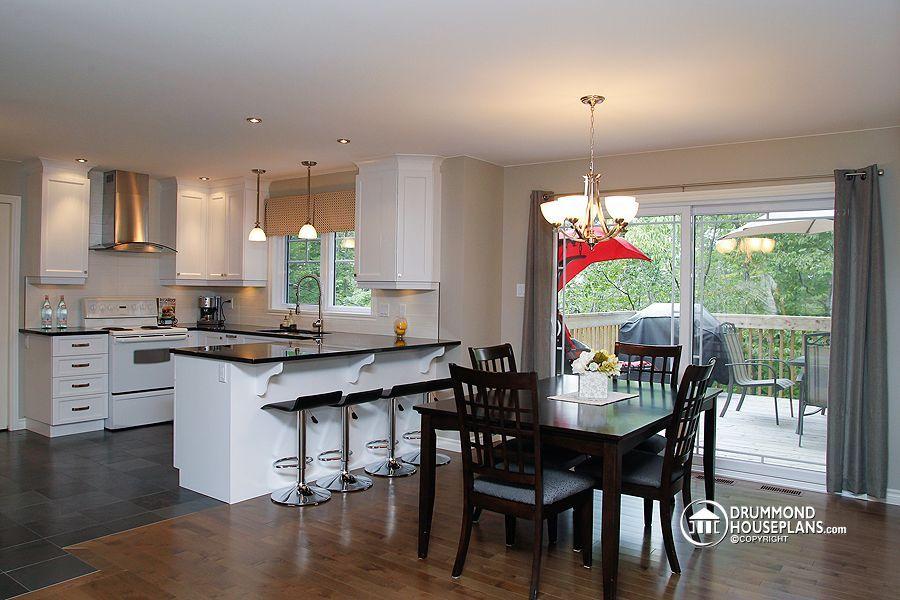 House plan W3862, modern kitchen cuisine chic et moderne blanche