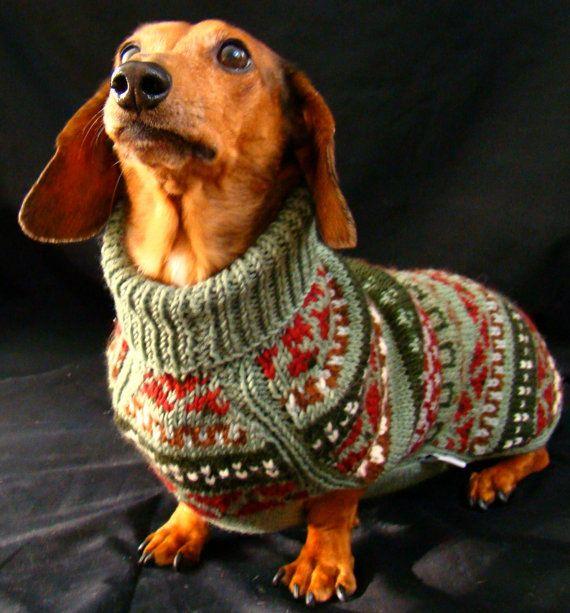 Fair Isle Handknit Dachshund Dog Sweater - Mock Turtleneck, Green ...