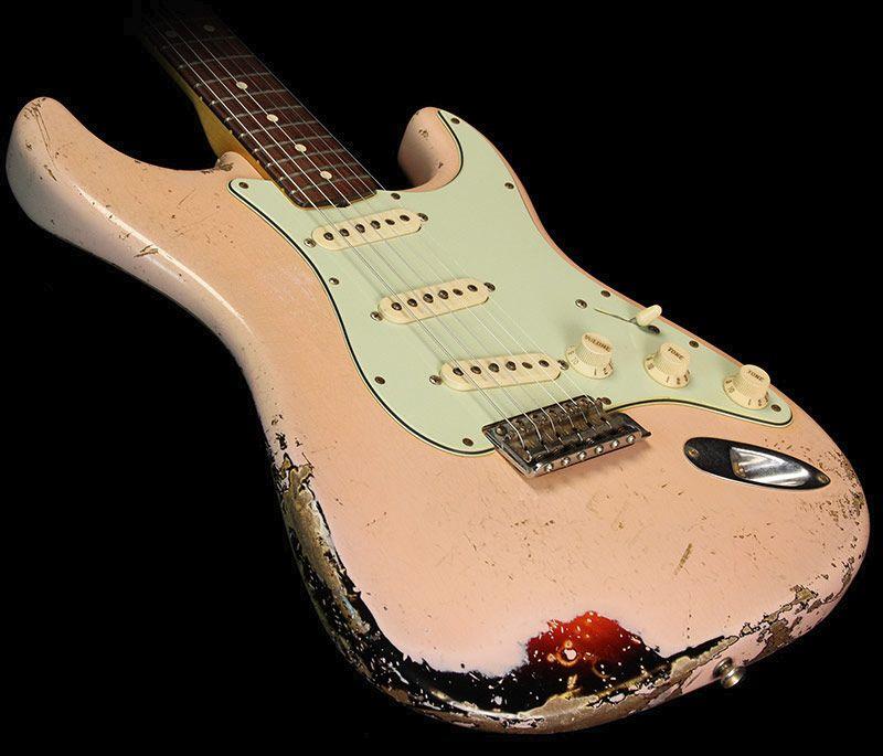 fender custom shop 39 60 stratocaster relic electric guitar shell pink over sunburst guitart in. Black Bedroom Furniture Sets. Home Design Ideas