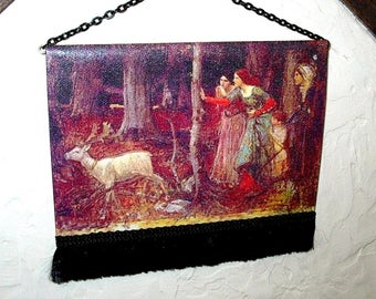 Medieval Tapestry With White Deer Etsy Medieval Tapestry Dollhouse Tapestry Tapestry