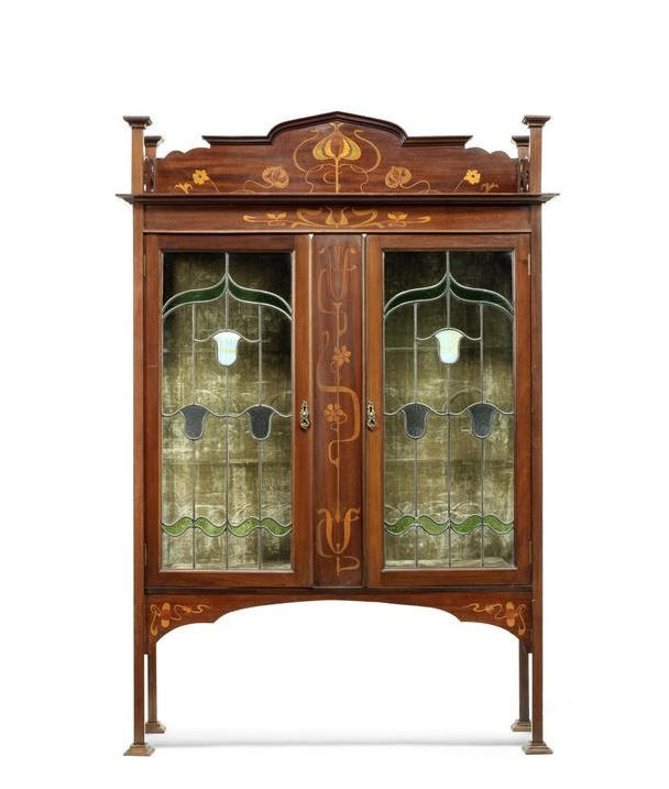 Kitchen Cabinets With Stained Glass: Liberty, Attributed. An Art Nouveau Cabinet, Circa 1900