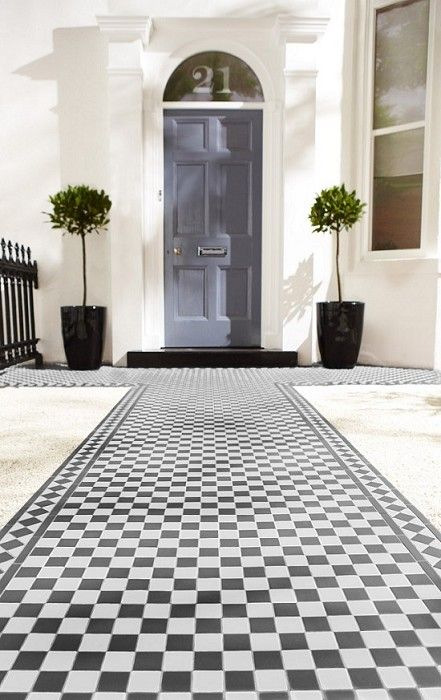 Victorian black white chequer tile ideas en general for Edwardian tiles for porch