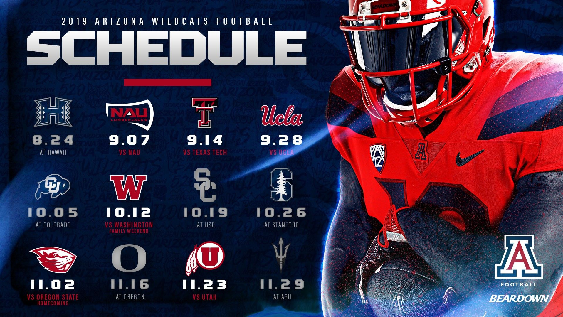 2019 Arizona Wildcats Football Schedule Team Schedule Ncaa