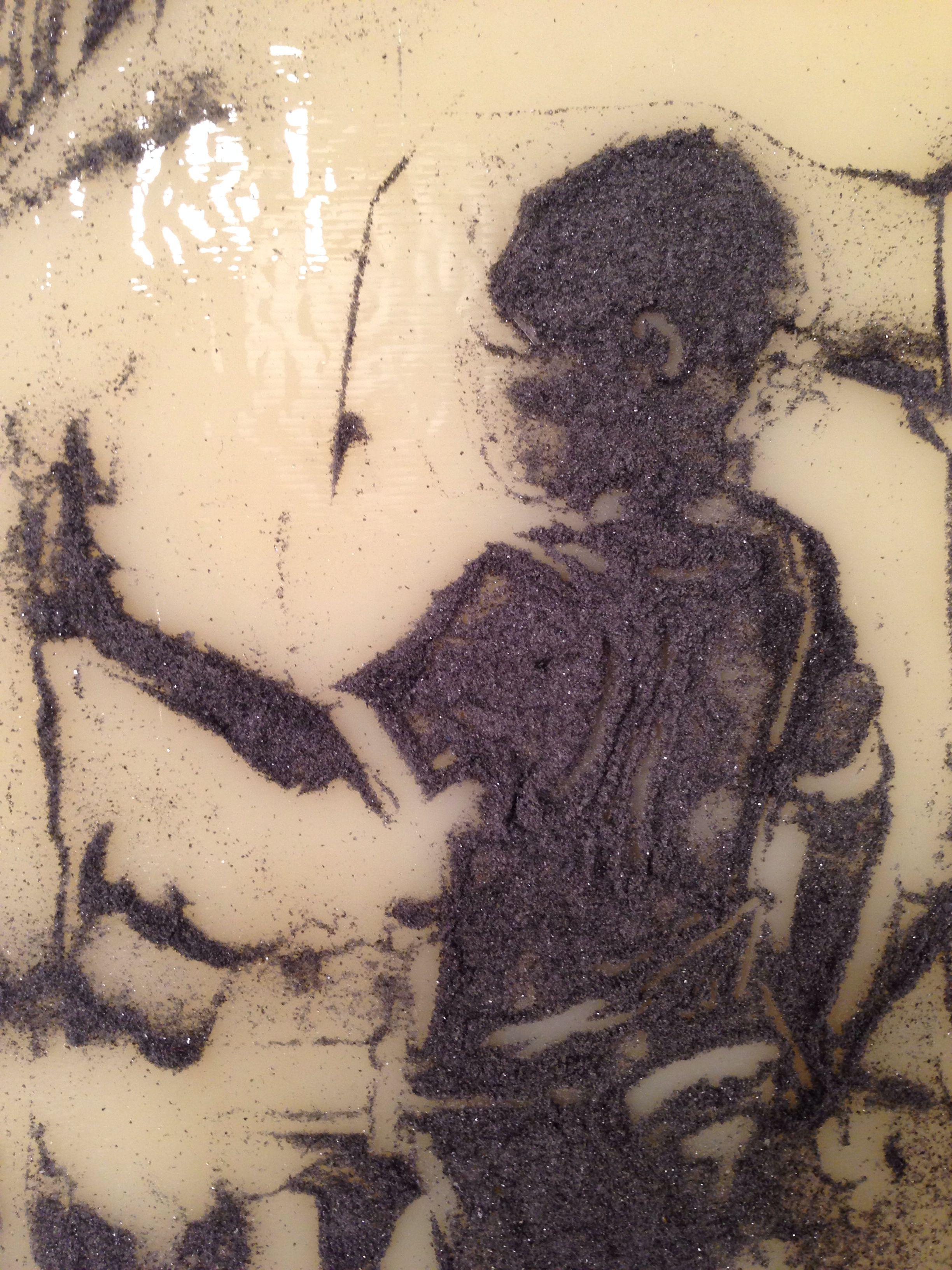 (Before firing) glass sgraffito drawing. 2014 Kelly Crosser Alge
