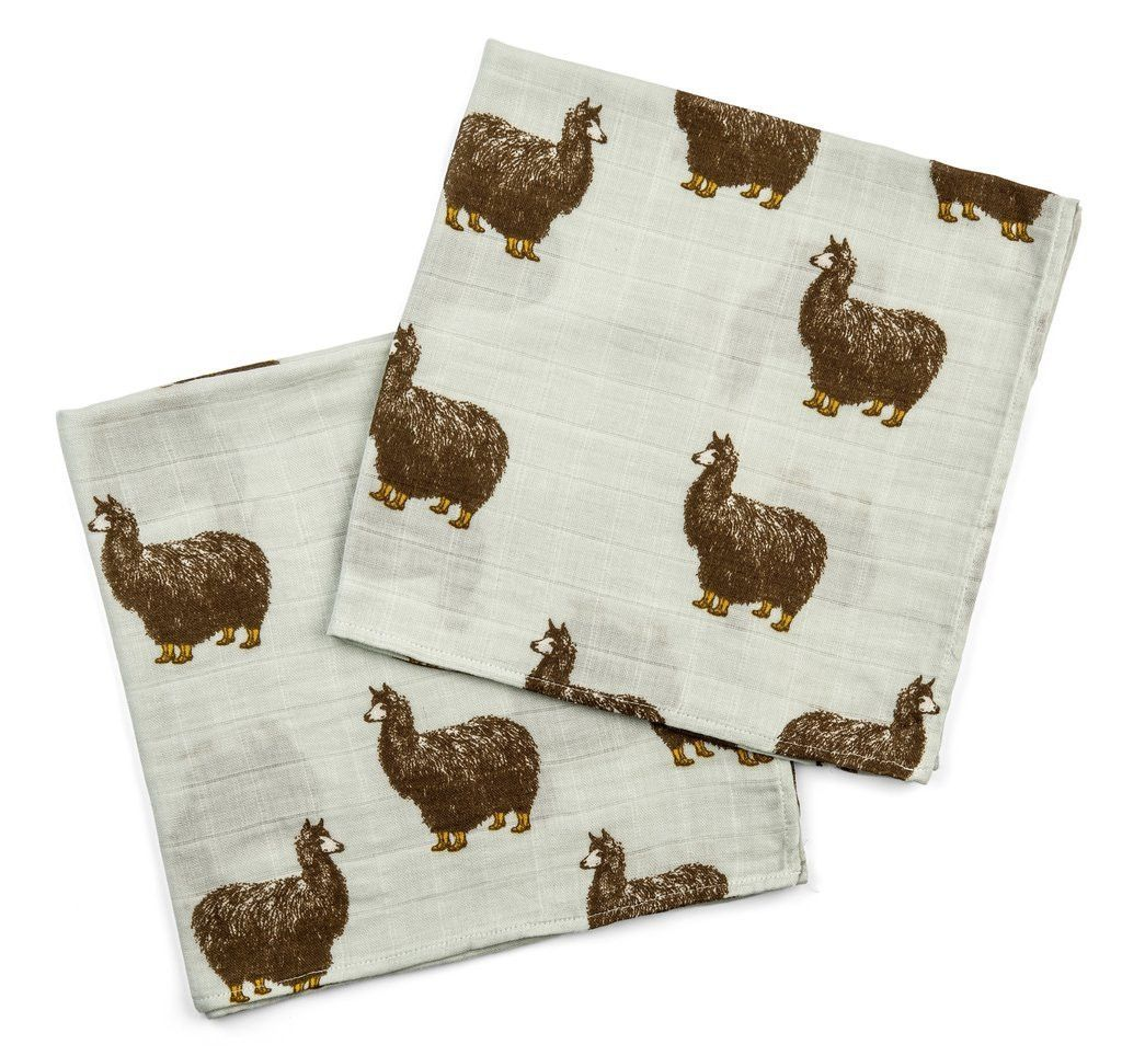 Milkbarn Bamboo Cotton Infant Baby Burp Cloths Pink Alpaca Set of Two New
