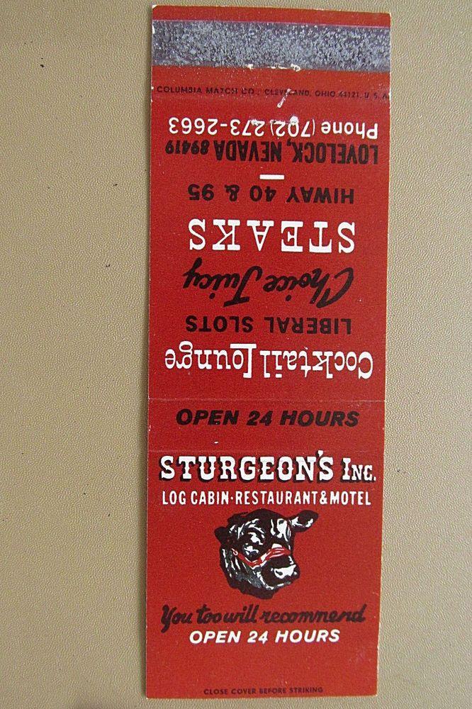 Sturgeon's Restaurant Lovelock, Nevada NV Motel Lounge 20 Strike Matchbook Cover