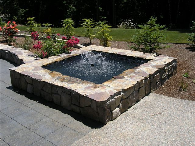 Raised pond garden pinterest raised pond pond and for Raised fish pond designs