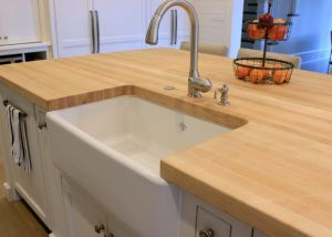 Farmhouse Sink And Butcher Block Top Google Search Outdoor Kitchen Countertops Wood Countertops Countertops