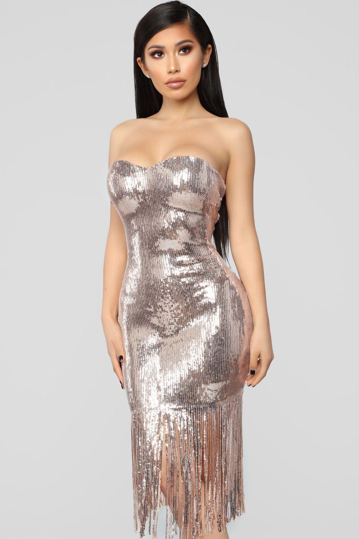 Speak Easy To Me Fringe Dress Rose Gold Fringe dress