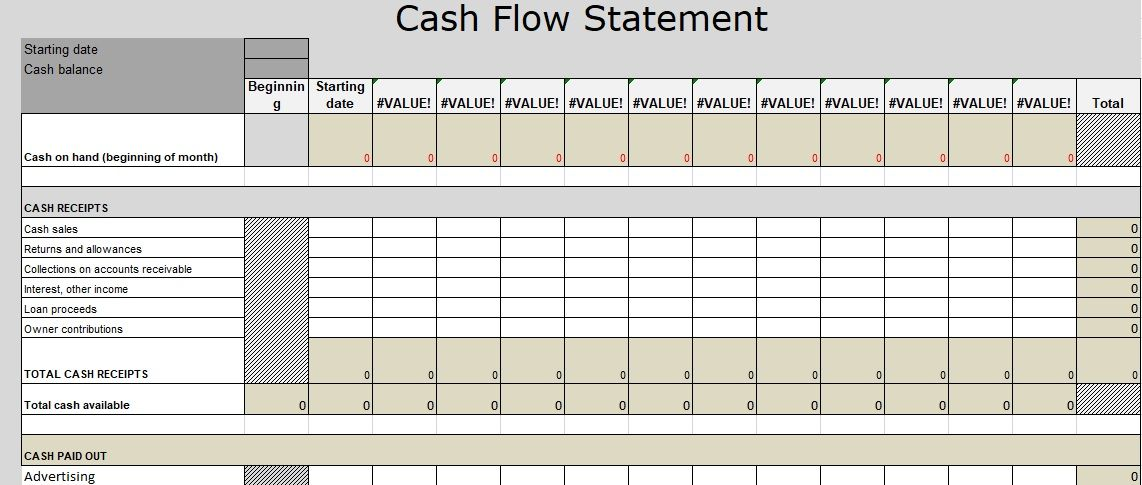 Cash Flow Statement Excel Template is being use through the ...