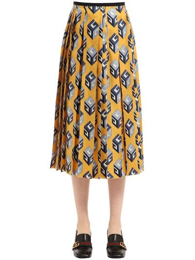 7d99748e3 GUCCI Gg Wallpaper Printed Silk Twill Skirt, Yellow. #gucci #cloth #skirts