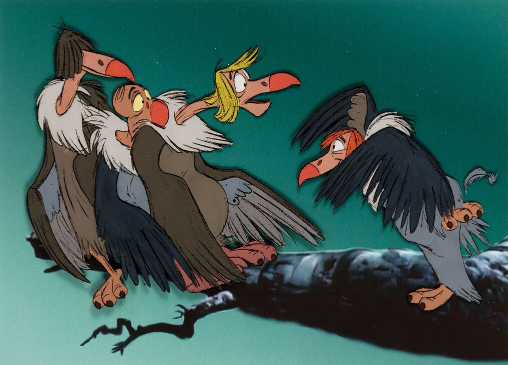 production cel featuring the vultures from the jungle book the