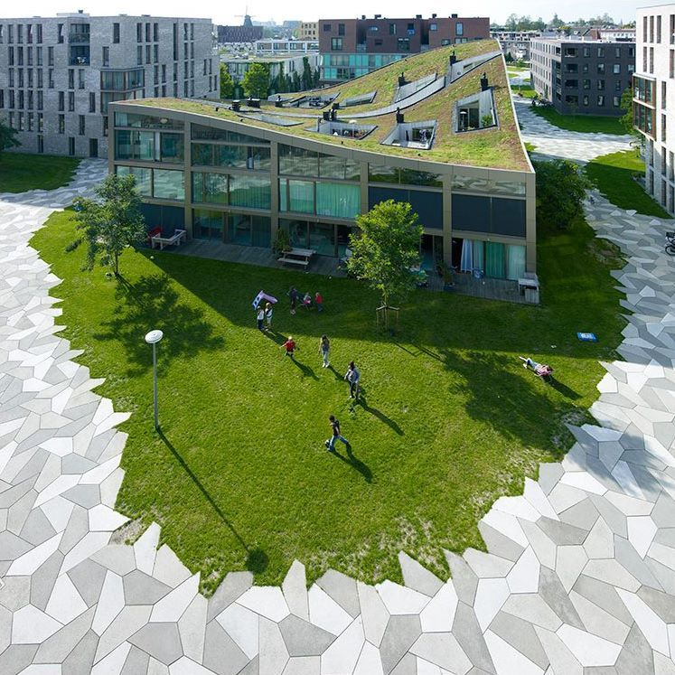 Harpers Square Apartments: Green Roofs Everywhere. Funenpark By LandLab, Amsterdam