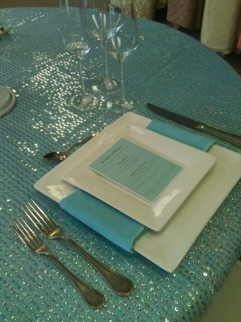 Sequins Tiffany Blue Tablecloth White Square Charger Tiffany