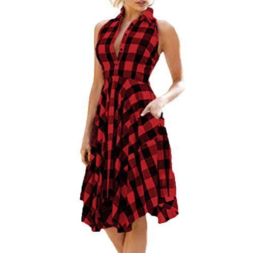 Longra Damen Vintage Retro Kleid Rot Kariertes Kleid Armellos Plaid A Linie Kleid Sommerkleider Knielang Damen Irregular Karo Sommer Kleider Kleider Abendkleid