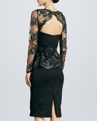 a5fdc17cdc6 Badgley Mischka Lace Peplum Brocade Cocktail Dress - Neiman Marcus ...