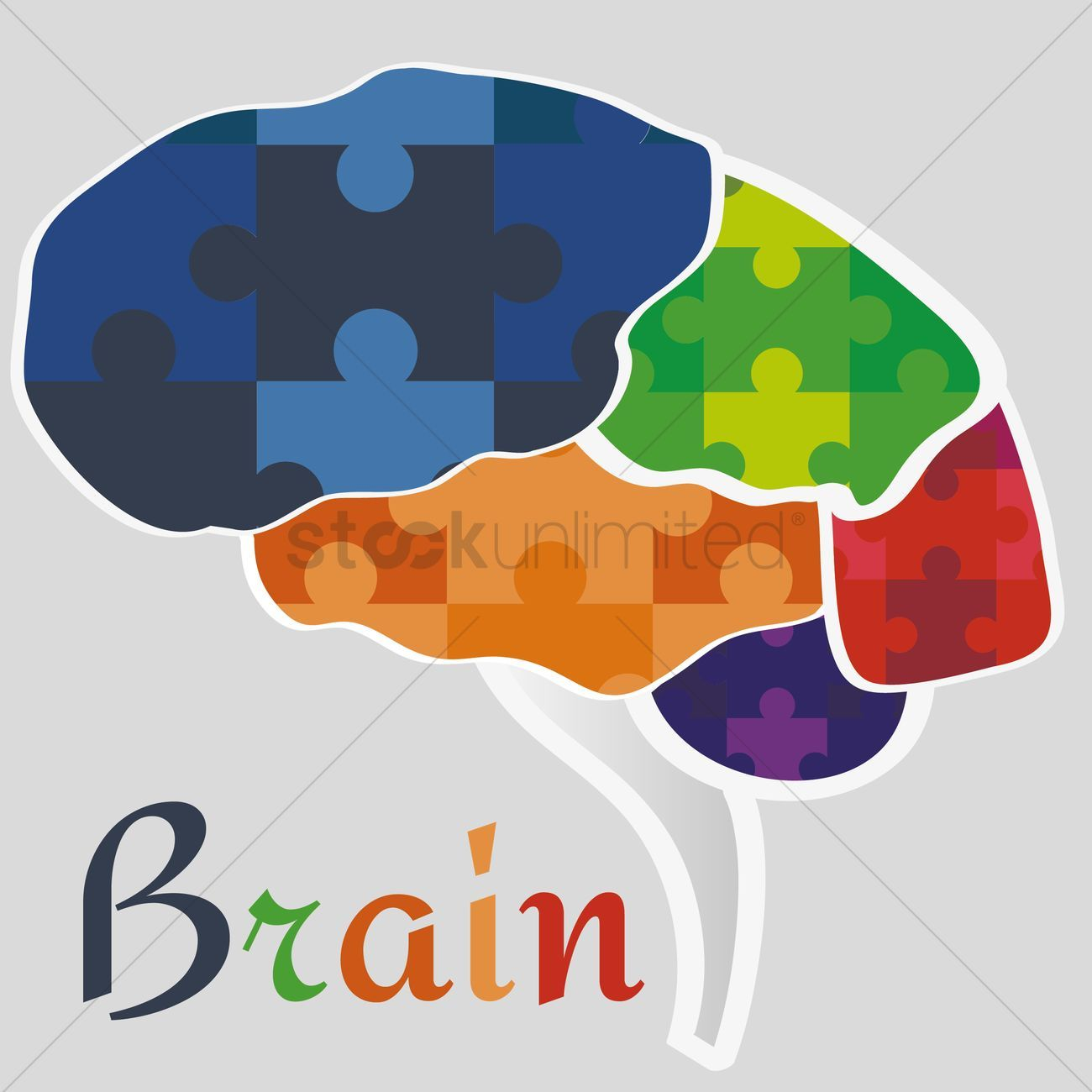 Brain jigsaw puzzle stock vector