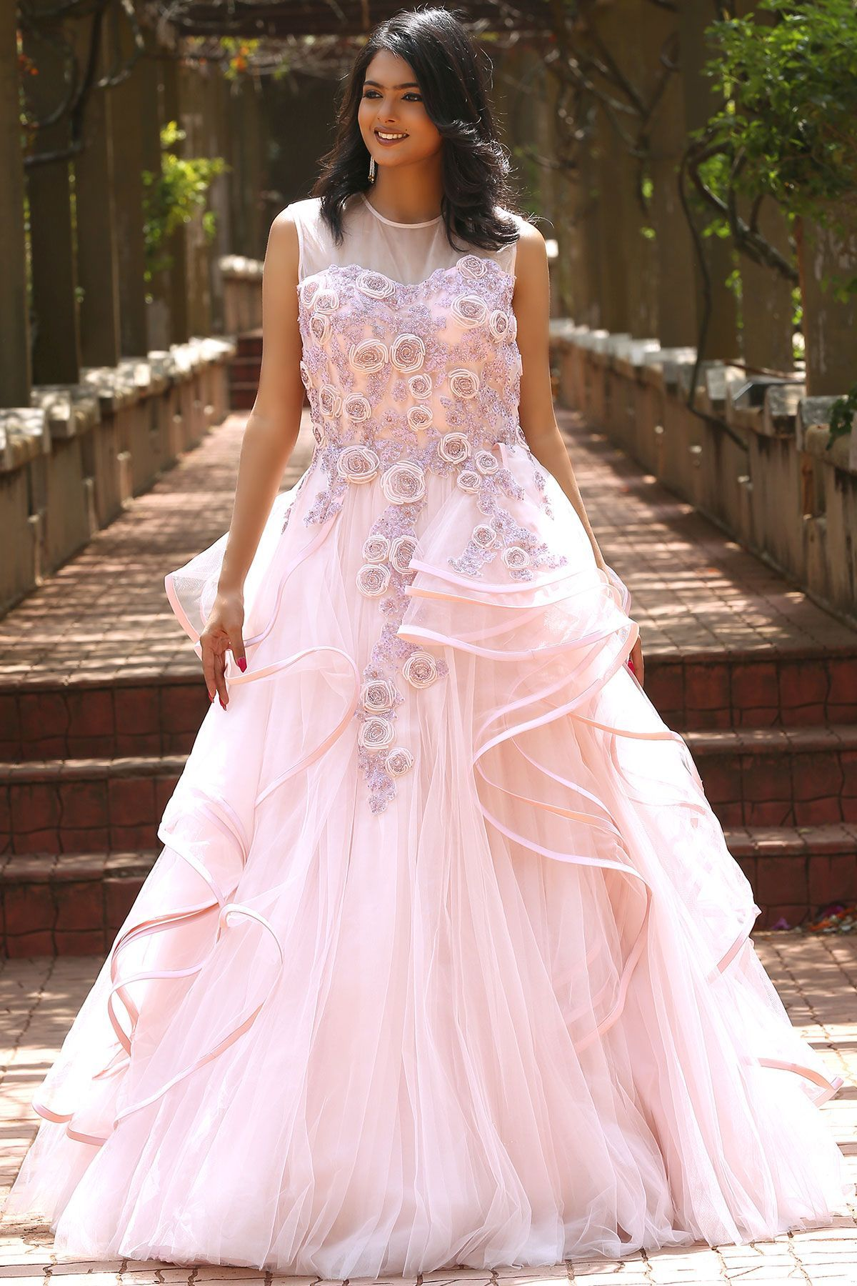 2729a3d580 Buy Baby Pink Net Applique Embroidered Evening Gown Online | Evening ...