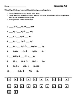 Balancing Chemical Equations Worksheets Combo With Images