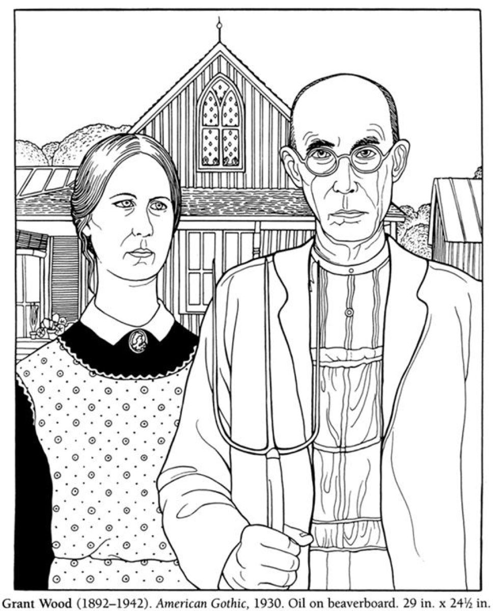 American Gothic Grant Wood American Gothic American Gothic Coloring Books