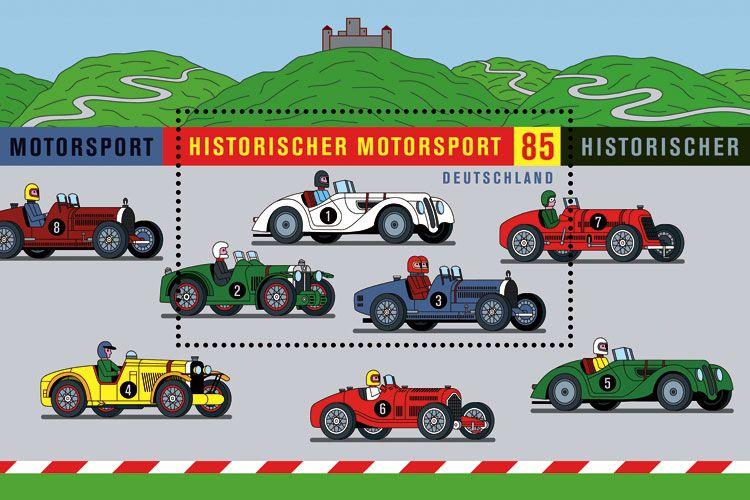 Historischer Motorsport – Briefmarke – Wagenbreth