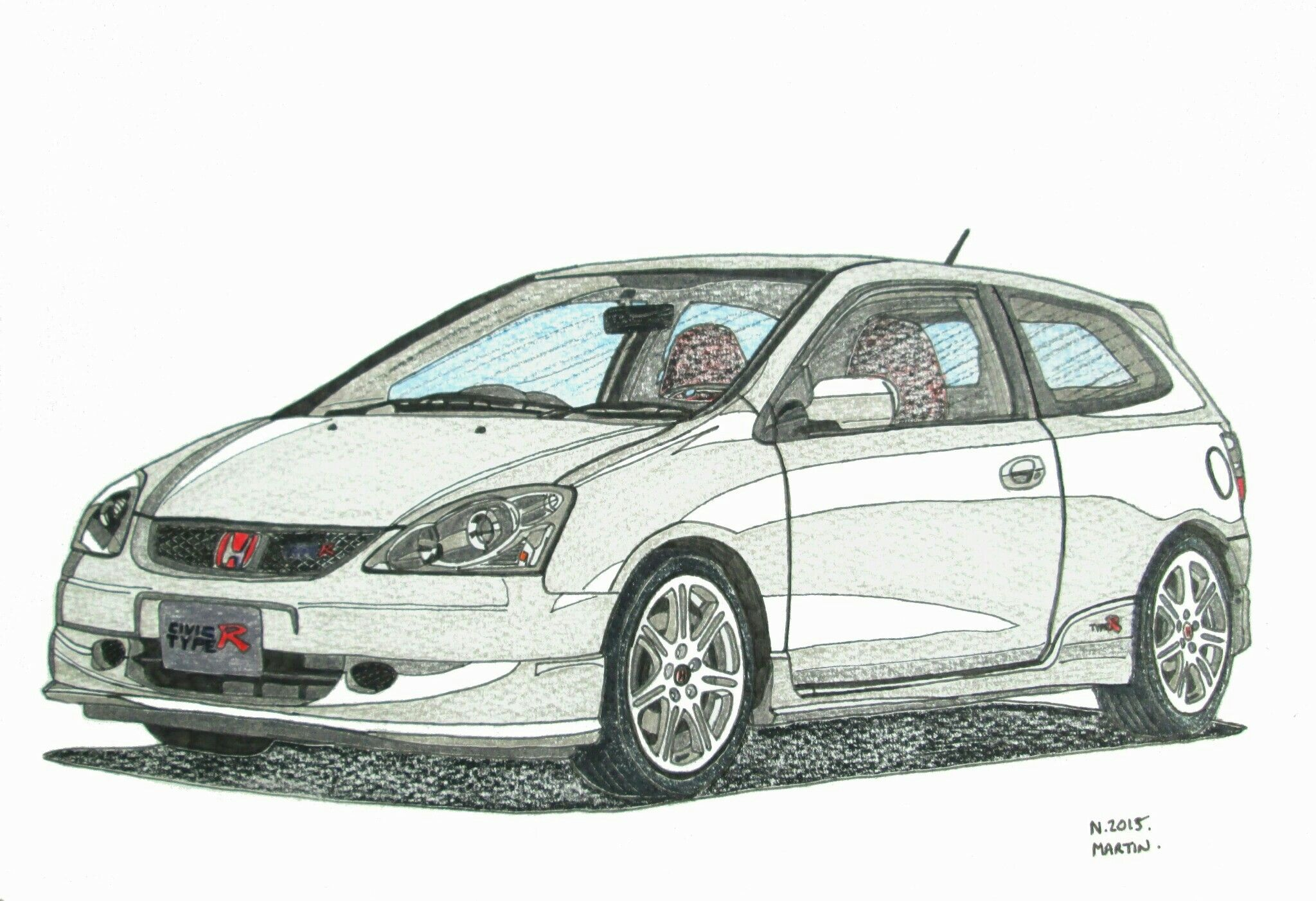 Honda Civic Type R Ep3 2nd Generation Drawing My Drawing Of A Honda Civic Type R Using Watercolour Pencils Honda Civic 2003 Honda Civic Honda Civic Type R