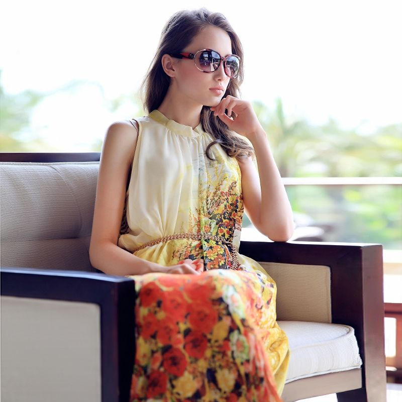 new arrival free shipping women's 2014 summer gradient print sleeve length skirt female one-piece dress $64.90