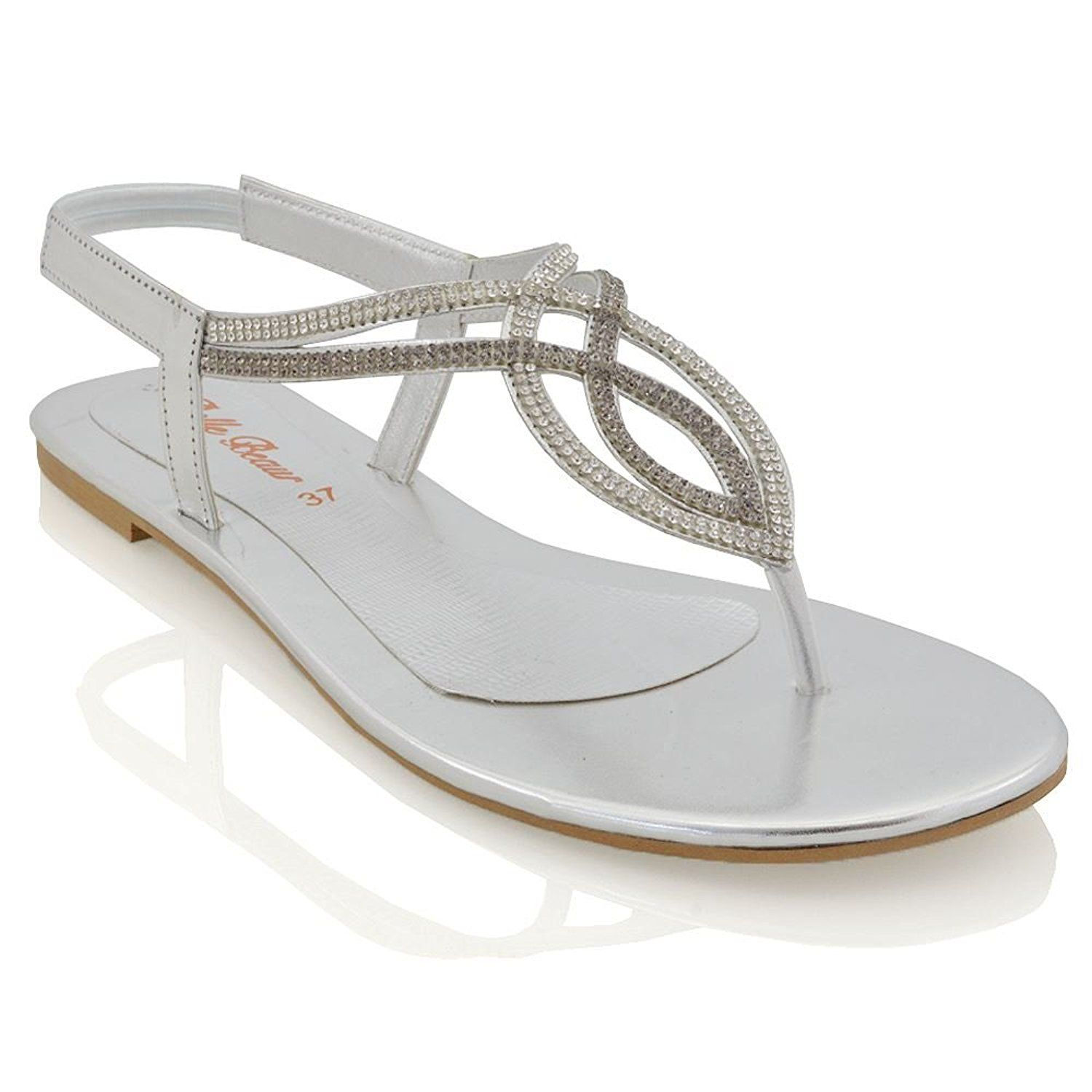 0490ea1af Essex Glam Womens Flat T-Bar Diamante Synthetic Slingback Toepost Sandals      See this great product.  sandals