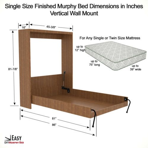 Twin Size DIY Murphy Wall Bed Hardware Kit for Vertical Wall Mount