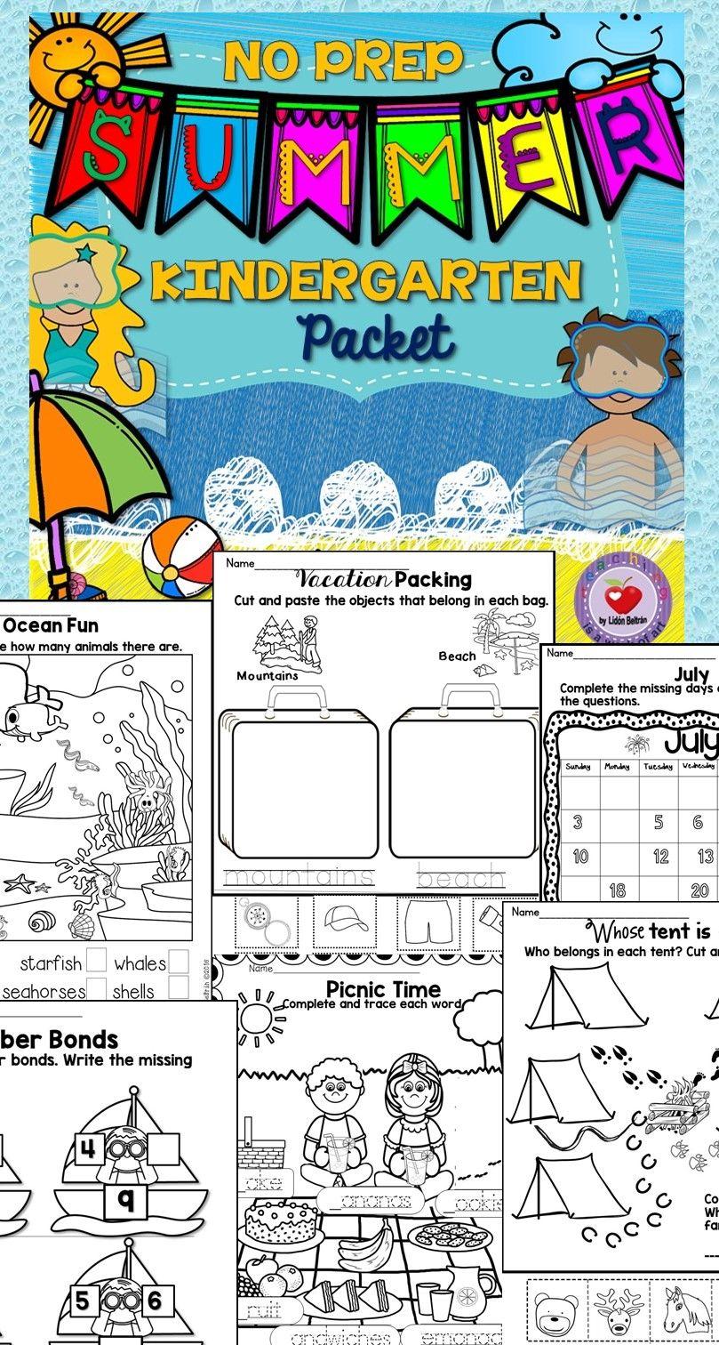 Summer NO PREP Packet- Kindergarten   Summer slide, Early finishers ...