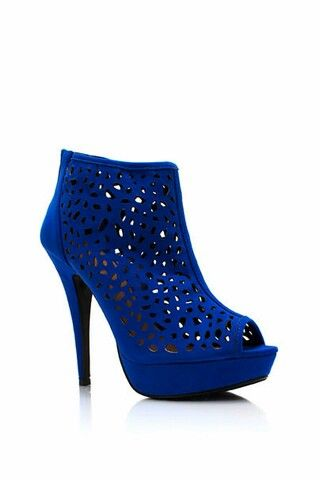 Blue suede lace cutout platform booties...I'm in love!!