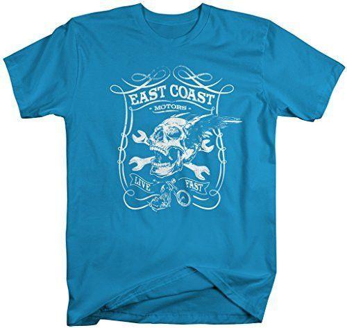 Shirts By Sarah Men's East Coast Motors Biker T-Shirt Skull Wrench Shirt
