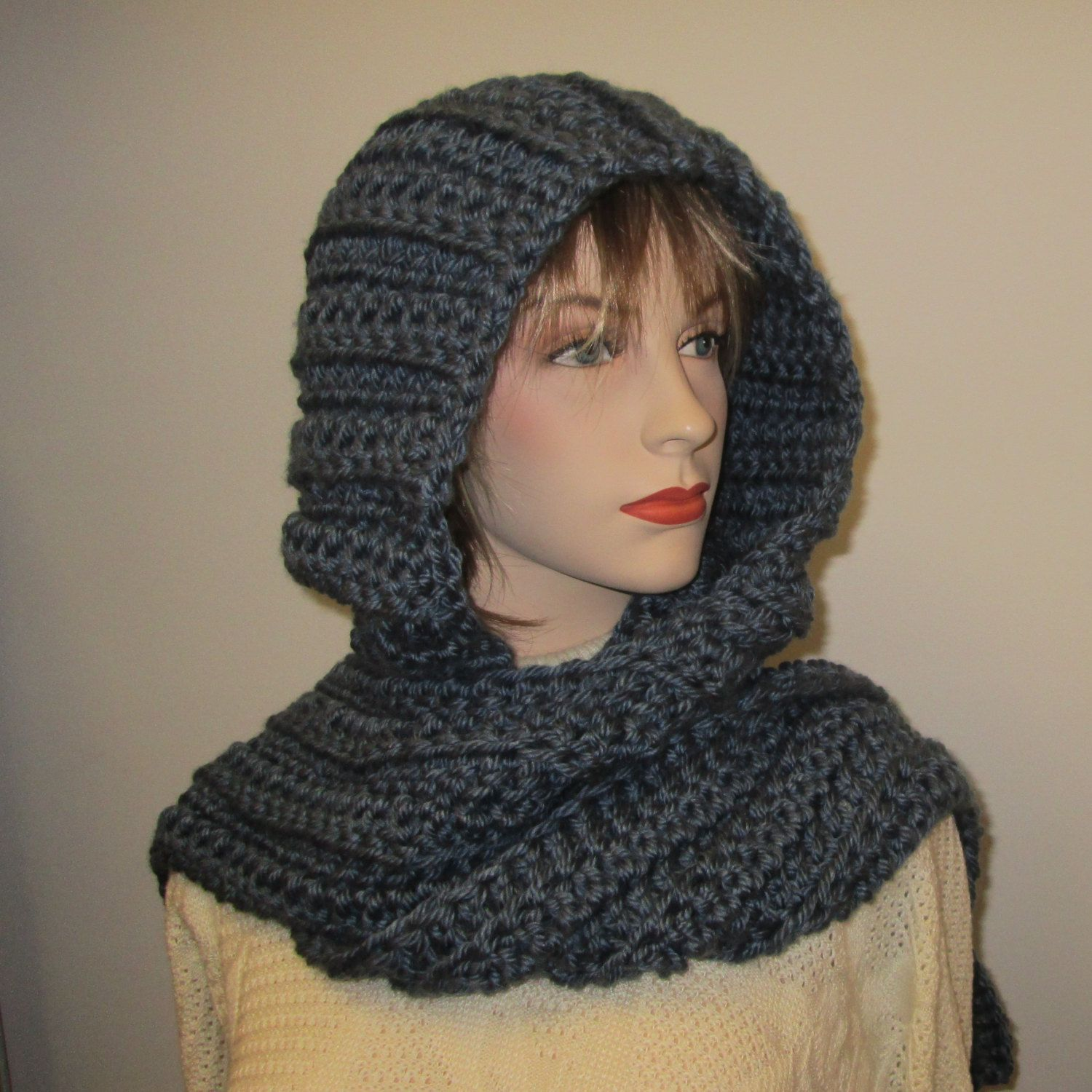 Denim Blue Crochet Hoodie, Oversized Scarves, Long Fall Scarf ...