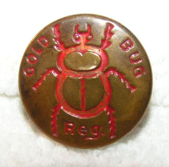 Vintage Gold Bug Workwear/Overall Button