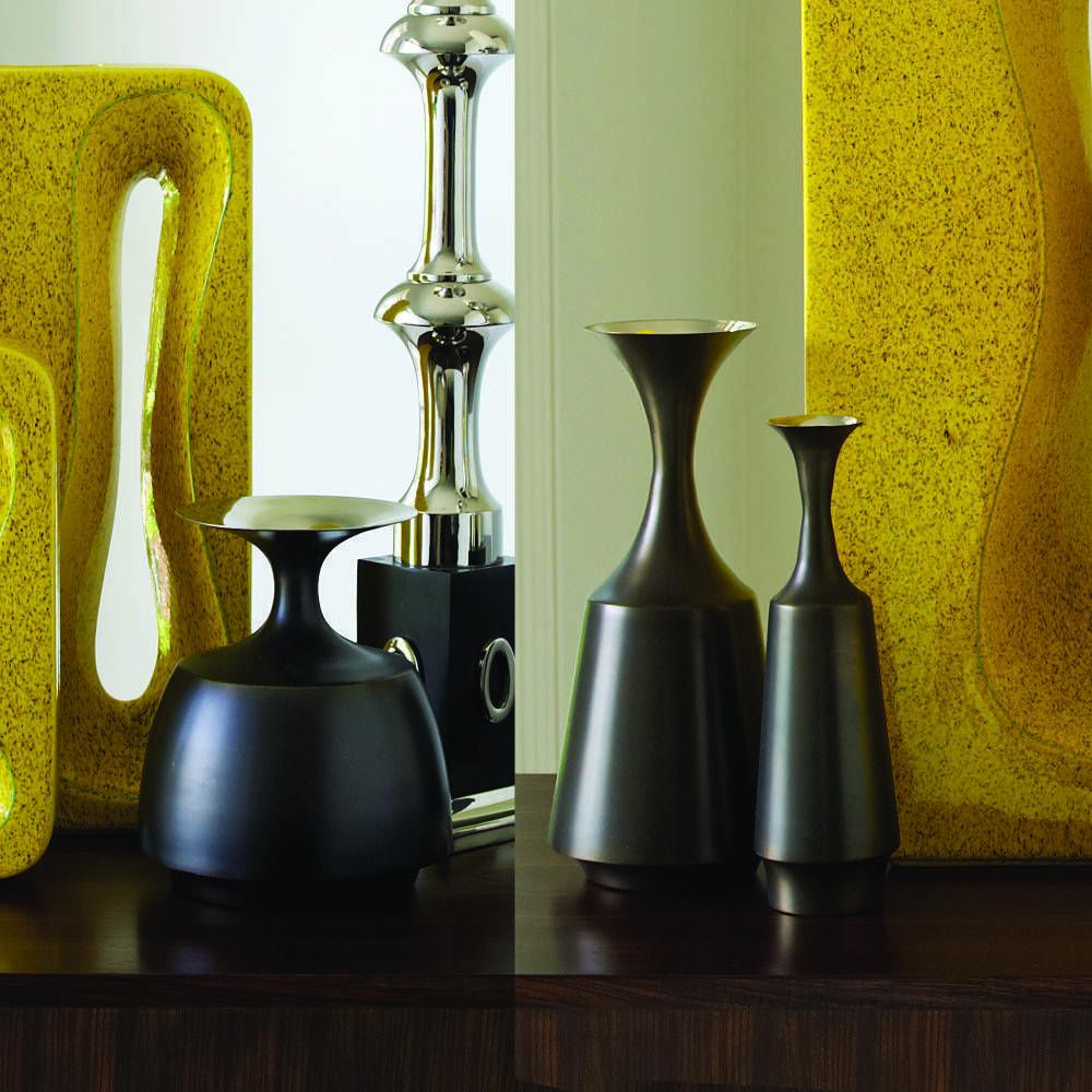 Collar Vase Bronze/Nickel, Global Views, Traditional, Vase   Vase ...