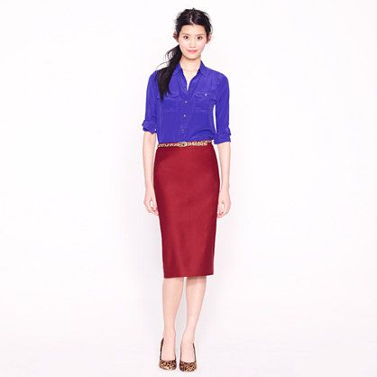 85c47f5f05 A burgundy skirt/wine colors are part of the fall color palette. And the  No.2 pencil skirt from J.Crew is part of the perfect wardrobe.