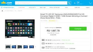 [CC Sub] SmartTV Samsung 43 polegadas UN43J5200 - R$1510,17 à vista