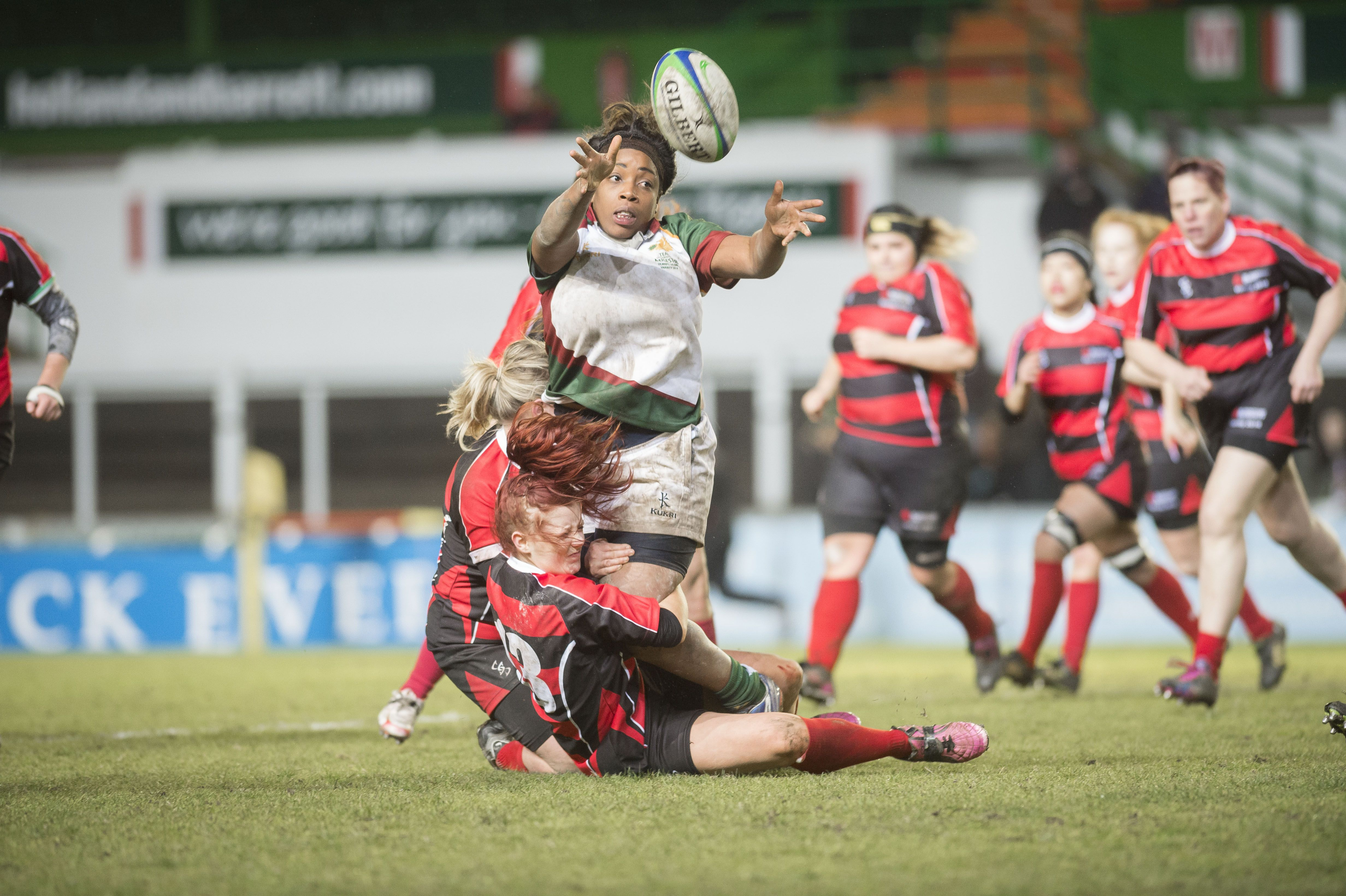 De Montfort University (DMU) take on University of Leicester in the Varsity rugby at Welford Road.