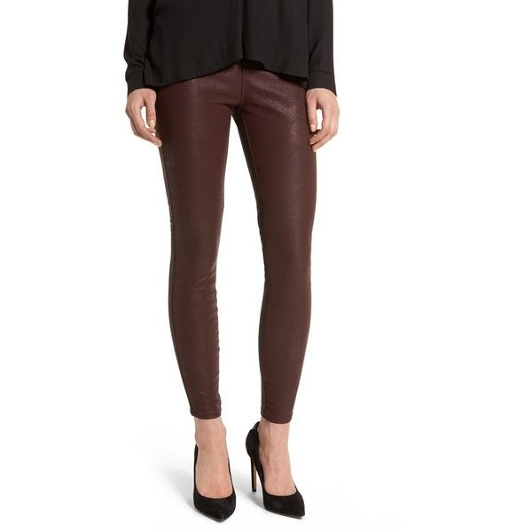 Women's Blanknyc Faux Leather Leggings ($53) ❤ liked on Polyvore featuring pants, leggings, dark red, dark red pants, faux leather leggings, shiny leggings, brown leggings and brown trousers
