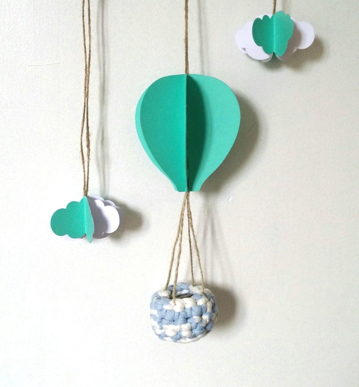 mobile 3d montgolfi re et nuage en papier cartonn et bambou et trapilho my little papeterie. Black Bedroom Furniture Sets. Home Design Ideas