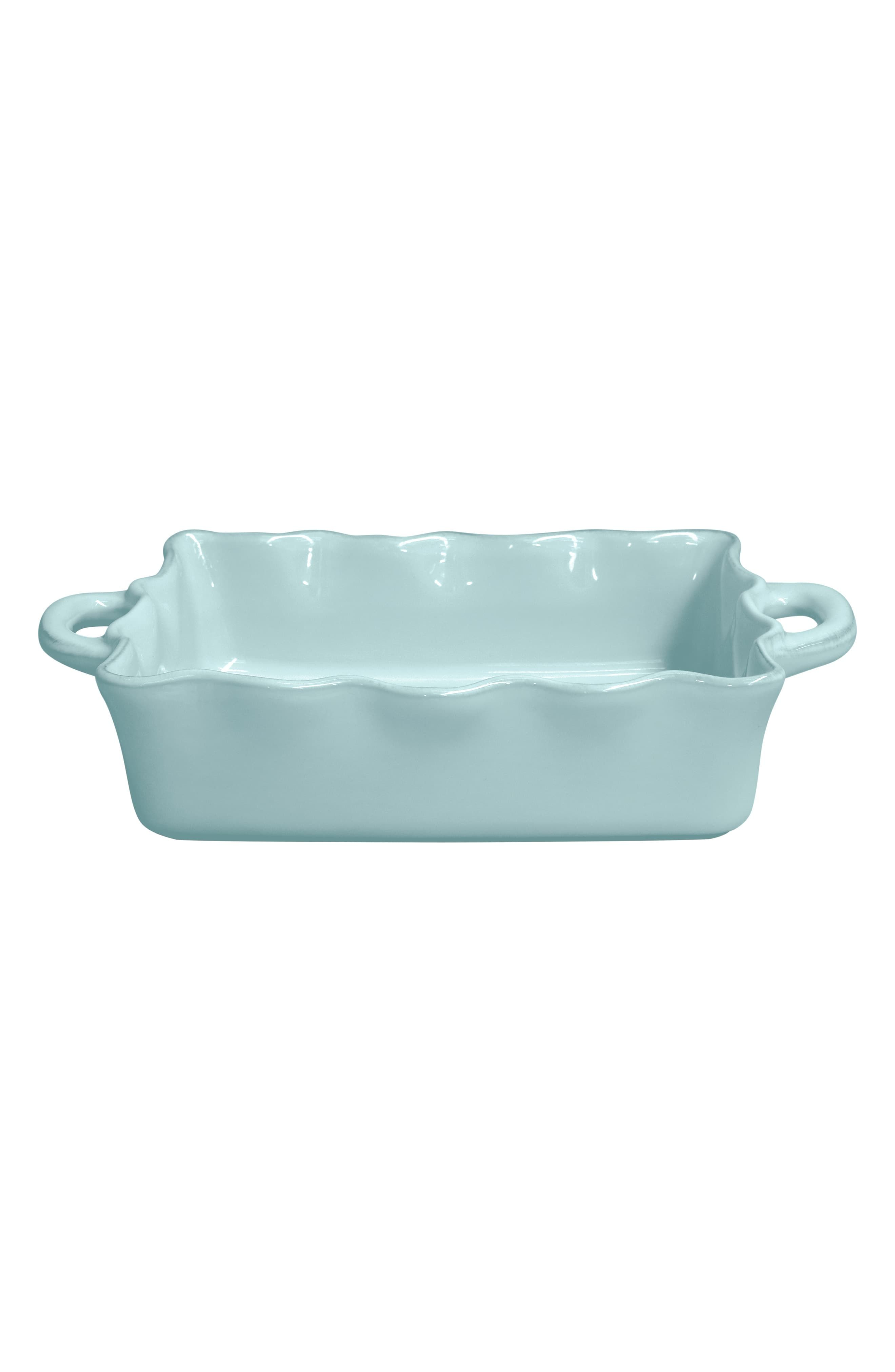 Casafina Ruffle Ceramic Baker Dish Size Medium Blue Ceramics