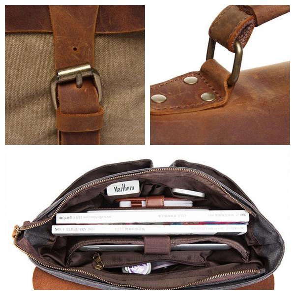 Handmade Blue Green Canvas Leather Briefcase Messenger Bag Shoulder Bag  Laptop Bag 1807 - LISABAG Canvas de3fb77edec92