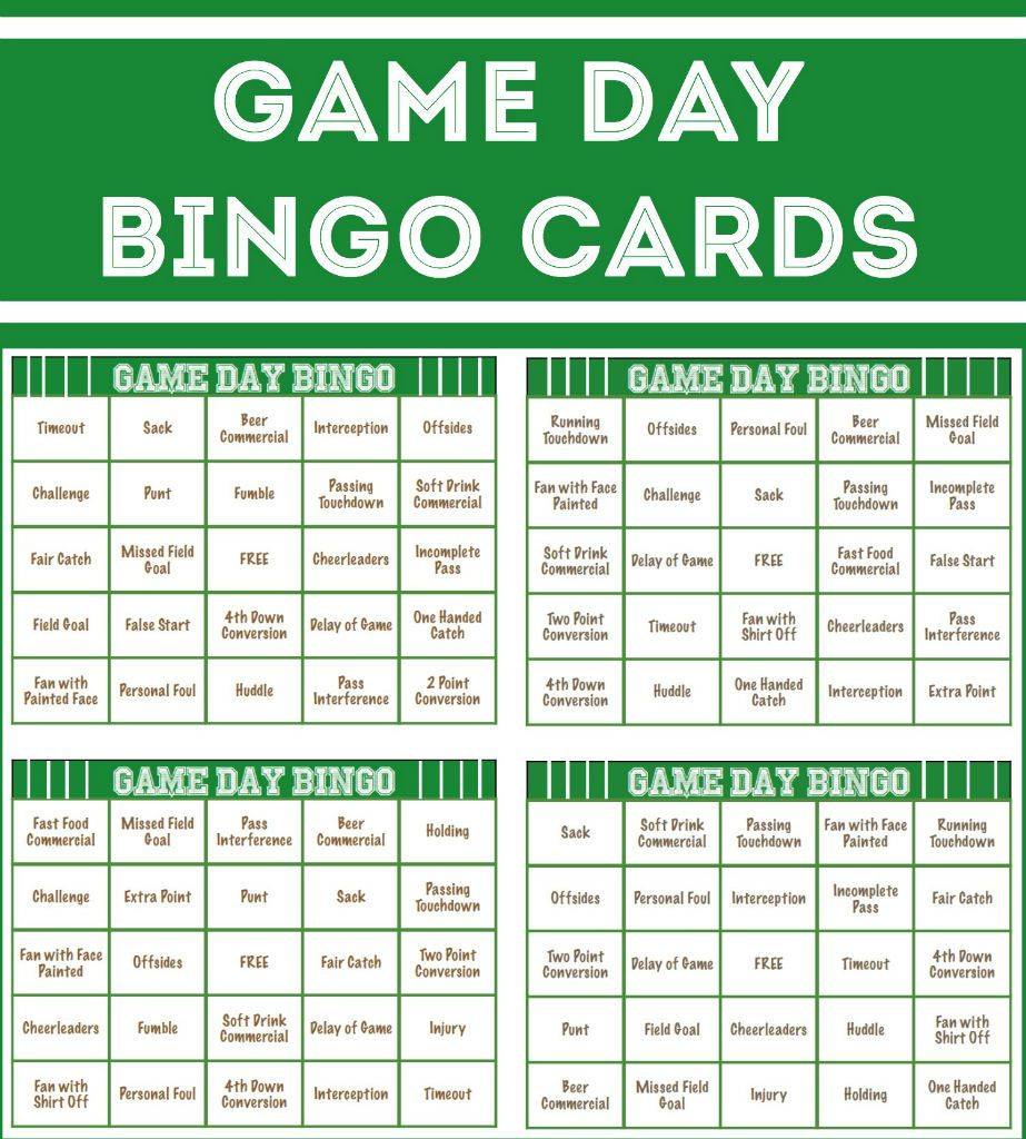 Super Bowl Pool Ideas step 2 Free Printable Football Bingo Cards Perfect For Playing A Little Super Bowl Bingo For Your
